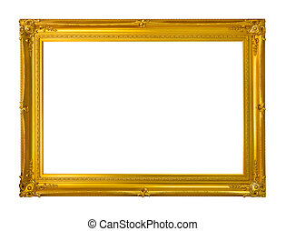 The antique gold frame on the white