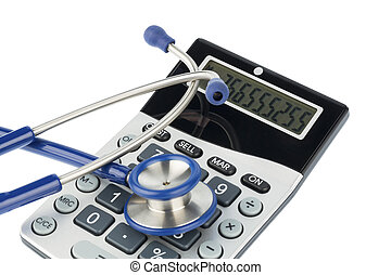 stethoscope and calculator, photo icon for billing and...