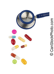 colorful tablets a stethoscope - colorful pills and...