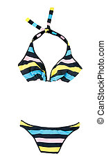 Halter pastel colors striped bikini isolated on white...
