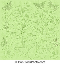 Flowers and butterflies green background
