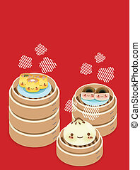Cute Dim sum - Chinese Food EPS10 - Cute Dim sum - Chinese...