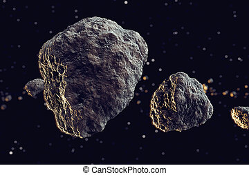 Meteors. - Closeup on meteor lumps in space. Dark...