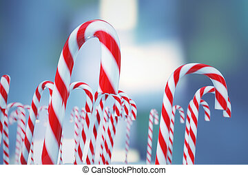 Christmas candies - Hard cane-shaped candy sticks with...