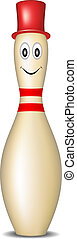 Bowling pin with smiling face and red hat on white...