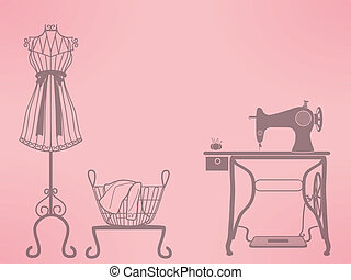 mannequin and sewing machine - vintage mannequin and sewing...