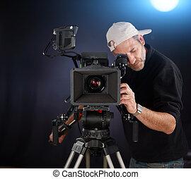cámara, trabajando, cine, cámara