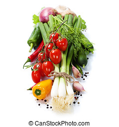 fresh vegetables on the white background - healthy or...