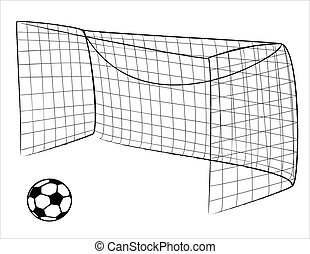 Illustration of a Soccer gate and ball