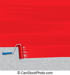Red Paint Roller Painting Concrete Wall. Vector