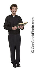 Young Priest Holding Bible Over White Background