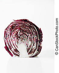 shot of the purple cabbage on the white background