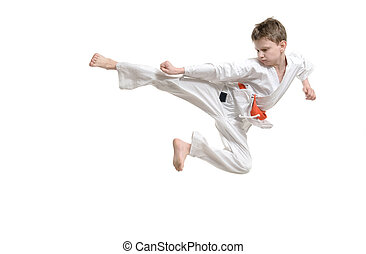 Karate Kid - Karate jump against white background