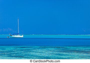 Bora Bora lagoon - White yacht at stunning tropical lagoon...