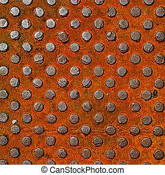 old orange diamond metal plate back