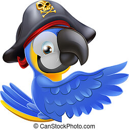 Pointing Pirate Parrot - An illustration of a pirate parrot...
