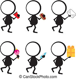 stick figure man active with items in hand