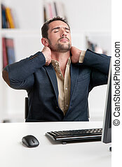 Casual Businessman With Pain In His Neck - Casual...