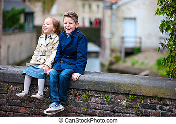 Kids outdoors in city