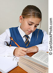 School Girl - Teenage School girl busy with her homework,...