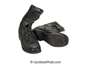 old used boots vietnam war period isolated