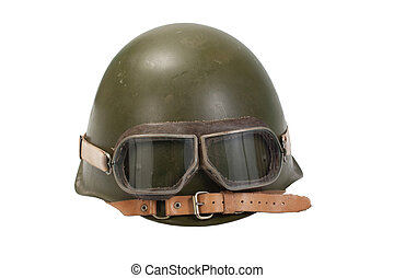 soviet helmet with goggles isolated on white