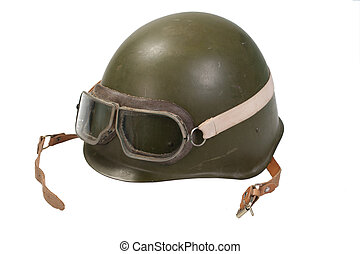 soviet army helmet with goggles isolated on white