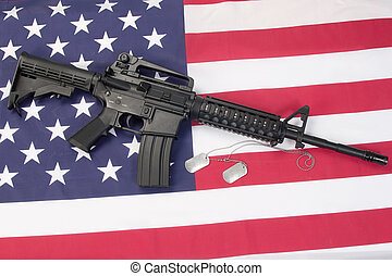 etiquetas,  carbine, cão, nós, bandeira, em branco,  m4a1