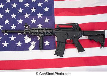 M4A1, assalto, rifle, em branco, cão, etiquetas, nós,...