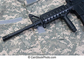 exército,  carbine, nós, uniforme, fundo,  m4a1