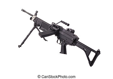 modern machinegun isolated