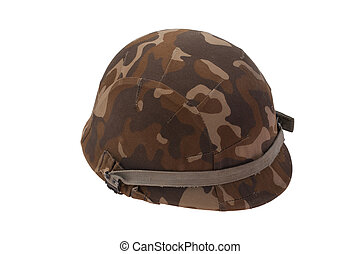 US military helmet with soviet camouflage cover