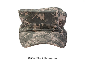 modern us army camouflaged cap on a white background