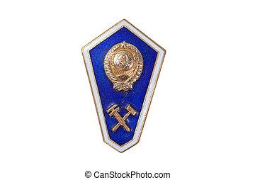 soviet institute emblem isolated on white background