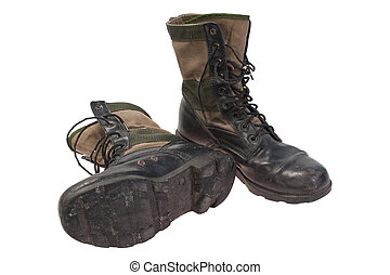 old used boots vietnam war period isolated - old used boots...