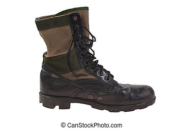 old used combat boots vietnam war period isolated