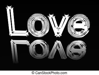 """Image of a word """"Love"""" on a smooth surface. - The image of a..."""