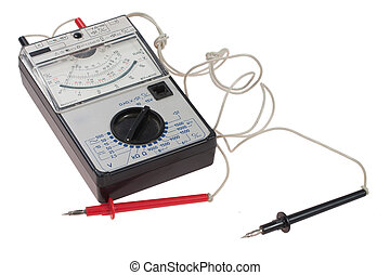 Old analog multimeter isolated on the white background