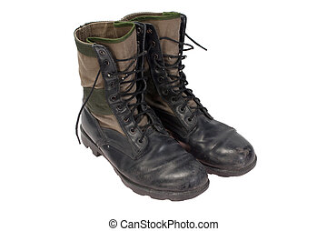 old used jungle boots vietnam war period isolated