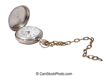 retro pocket watch with a chain on a white background