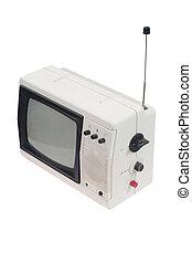 Vintage white portable TV set with antenna