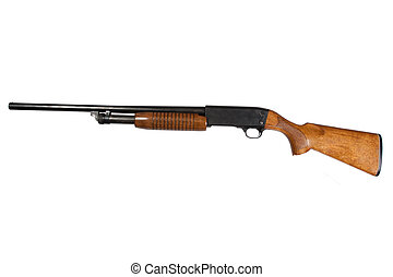 pump action shotgun isolated on white