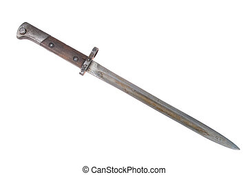 ww2 period bayonet isolated on white background