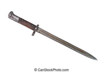 Czechoslovak army ww2 period bayonet isolated on white...