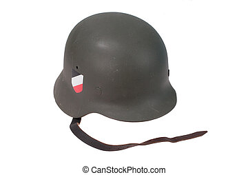 German Army helmet World War II period isolated on a white...