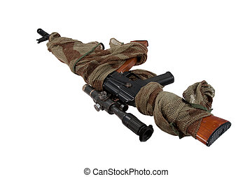 camouflaged kalashnikov AK74 with sniper scope isolated on a...