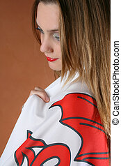 Welsh Girl - Beautiful young female model with a Welsh Flag