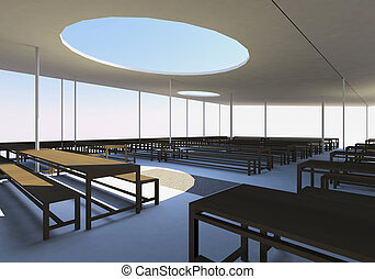 cantine, bois, chaises, Tables