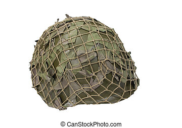 helmet with camouflaged cover isolated on white