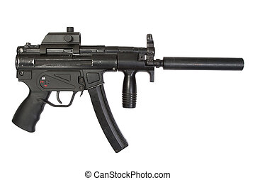 9mm submachine gun with silencer isolated on a white background